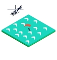 skydiver jumps out of the helicopter vector image vector image