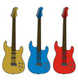three electric guitars vector image vector image
