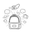 travel bag with tourism icons vector image