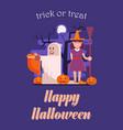 trick or treat halloween postcard vector image vector image