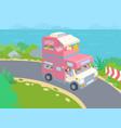 van life road trip girl waving from van vector image vector image