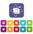 virtual cube icons set flat vector image vector image
