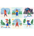 weather conditions and seasonal female clothes vector image