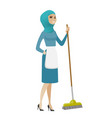 young muslim housemaid sweeping floor with a broom vector image