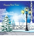 Snowy street with trees and street lamp vector image