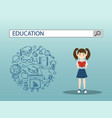 reading girl with education search engine bar vector image