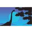 At night brachiosaurus scenery of silhouettes vector image vector image