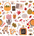 autumn mood hand drawn seamless pattern vector image vector image