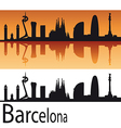Barcelona Skyline in orange background vector image vector image