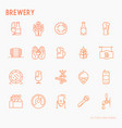 beer thin line icons related to brewery vector image
