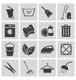 black cleaning icons set vector image vector image