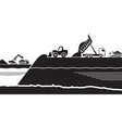 building artificial island in sea vector image vector image