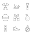 Camp icons set outline style vector image vector image