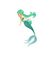 cartoon mermaid girl character in flat style vector image vector image