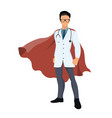 cartoon super hero doctor with red cape vector image vector image