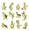 cartoon turtles happy funny animals running vector image vector image