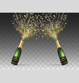 champagne confetti bottles on transparent vector image vector image