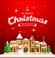 christmas greeting card red background vector image vector image