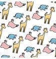doodle silhouette wild animal safari background vector image vector image