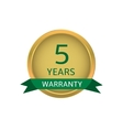Five years warranty label vector image vector image