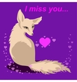 fox in love with words Miss you vector image vector image