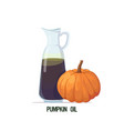 fresh pumpkin oil glass bottle with ripe orange vector image