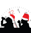 girl in red christmas hat drinking vector image vector image