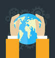 Global economics concept Human hands holding globe vector image