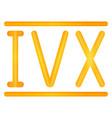 golden roman numerals set vector image