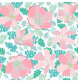 green leaves and pink flowers seamless pattern vector image vector image