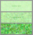 Green tiled triangle mosaic banner design set vector image vector image