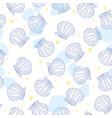 hand drawn - seamless pattern of seashells marine vector image vector image