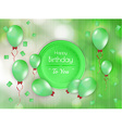 happy birthday badge with balloons vector image vector image