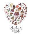 heart made of different christmas winter desserts vector image