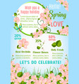 hello spring floral poster with orchid flowers vector image vector image