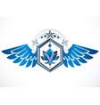 heraldic coat arms winged vintage emblem vector image