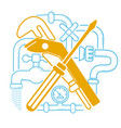 icon plumbing in the linear vector image vector image