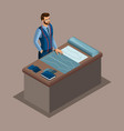isometric tailor work in a sewing workshop choi vector image