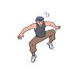 jumping man - parkour athlete or sportsman vector image