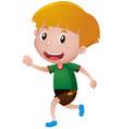 little boy in green shirt running vector image