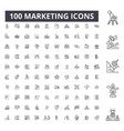 marketing editable line icons 100 set vector image vector image
