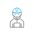 mine worker thin line stroke icon mine vector image vector image