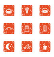 night tale icons set grunge style vector image