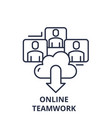 online teamwork line icon concept online teamwork vector image vector image