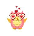 Pink Owl In Love vector image