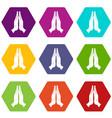 prayer icon set color hexahedron vector image vector image