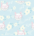 seamless pattern with cats background with gray vector image