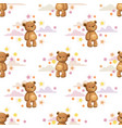 seamless pattern with little cute cartoon stuffed vector image vector image