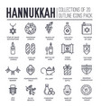 set hanukkah decor and attributes thin line vector image
