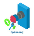 spinning metalwork icon isometric 3d style vector image vector image
